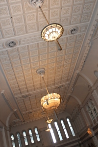 Intricate art deco ceilings at the QVB Tea Room
