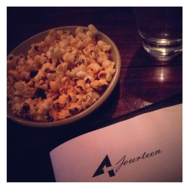 Popcorn and liquor at 4Fourteen, Surry Hills
